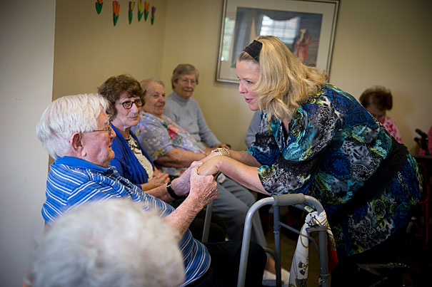 Annette Nicolas studied to be a chaplain at Harvard University Divinity School. She works with elders who live in Assisted Living at Brightview in Danvers, Massachusetts.  Rose Lincoln/Harvard Staff Photographer