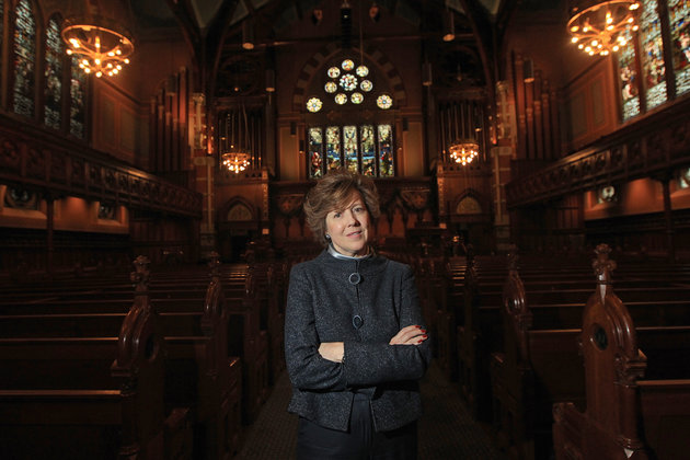 BOSTON - NOVEMBER 28: Old South Church Senior Minister Rev. Nancy Taylor poses for a portrait. The Old South Church may auction off a rare book of psalms to raise money for the financially struggling church. (Photo by Barry Chin/The Boston Globe via Getty Images)