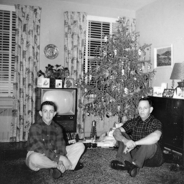 George Bell, left, in 1956. He was especially attached to his parents